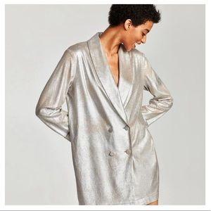 Zara Silver Foil Blazer Dress